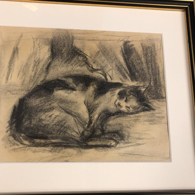 Original drawing on paper Unsigned 8 x 9.5 Overall size with vintage frame is 14.25 x 16.25 can be hung or stand tabletop