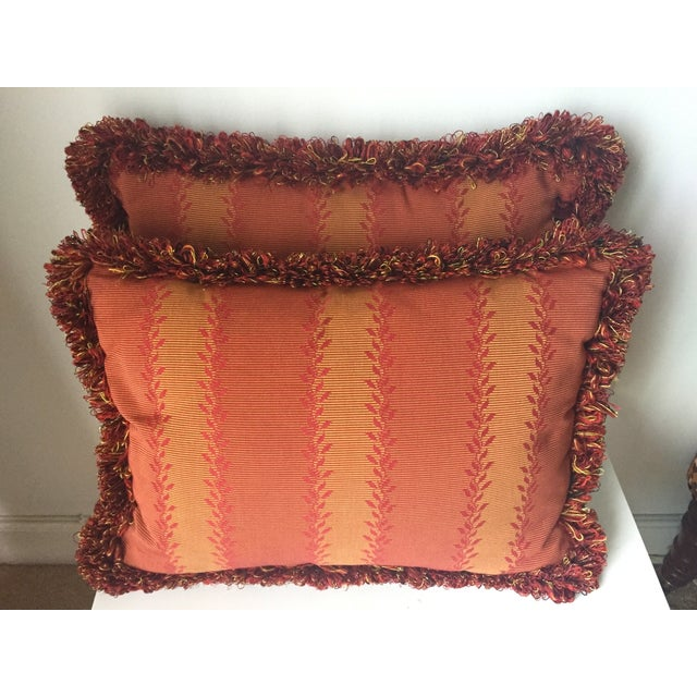 Vintage Orange & Red Silk Fringe Pillows - A Pair - Image 2 of 7