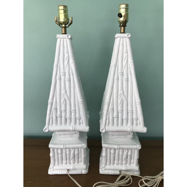 20th Century Hollywood Regency Ceramic Bamboo Obelisk Lamps - a Pair For Sale In Tampa - Image 6 of 7