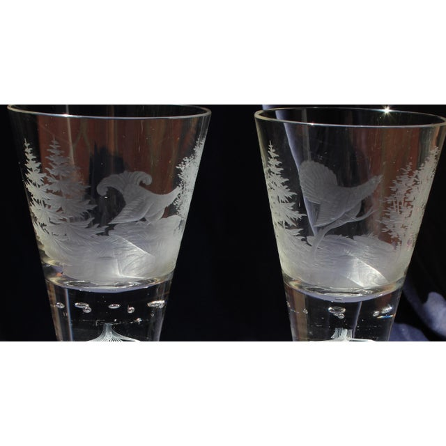Traditional 19th C. Etched Water Goblets- A Pair For Sale - Image 3 of 13