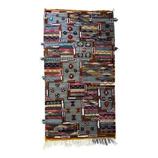 Moroccan Zanafi Berber Kilim Area Rug - 3′10″ × 7′1″ For Sale