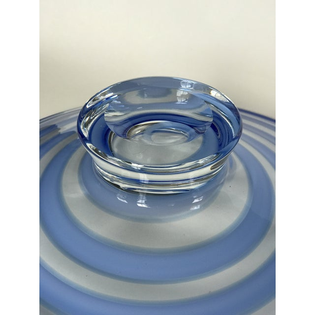 Blue Large Blue Swirl Art Glass Footed Centerpiece Bowl For Sale - Image 8 of 9