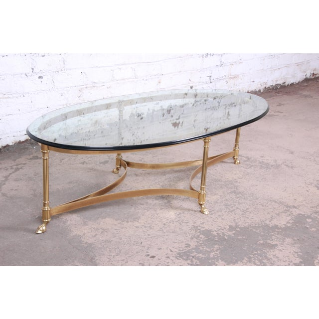 Hollywood Regency Labarge Mid-Century Hollywood Regency Brass and Glass Hooved Feet Coffee Table For Sale - Image 3 of 9