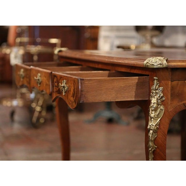 Early 19th Century French Louis XV Marquetry Lady's Desk With Bronze Mounts For Sale - Image 9 of 11