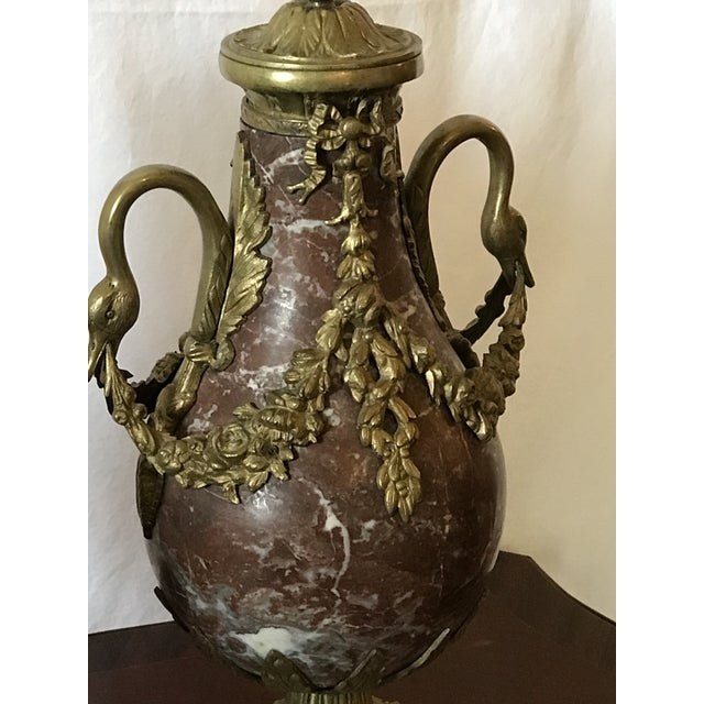 Late 19th Century Marble and Bronze Gilt Urns with Bronze Mounts - a Pair For Sale - Image 5 of 13