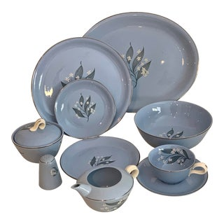 1955 Homer Laughlin Skytone China Service for 8 Dinnerware - 59 Pieces For Sale