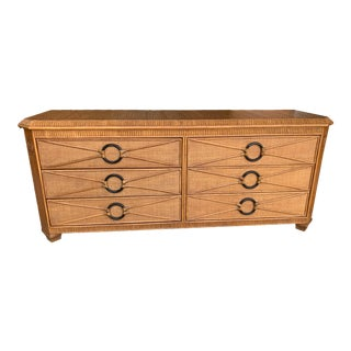 McGuire Style Target Handle Pencil Reed Rattan Dresser For Sale
