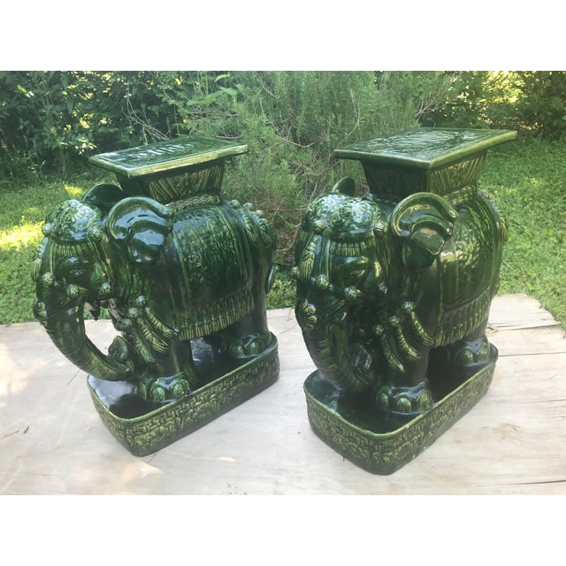 Remarkable Vintage Green Glazed Elephant Garden Stools Seats A Pair Unemploymentrelief Wooden Chair Designs For Living Room Unemploymentrelieforg