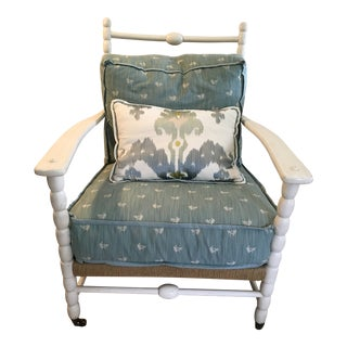 Aesthetic Bobbin Lounge Chair With Brunschwig & Fils Fabric Cushions and Kidney Pillow