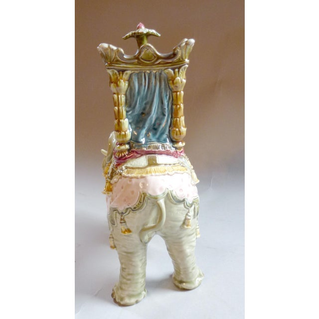 Ansonia Clock Company Bohemian Faience Elephant Form Mantle Clock Late 19th Century For Sale - Image 4 of 7