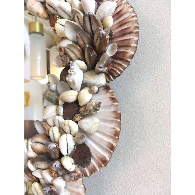 Contemporary 1970s Mid-Century Modern French Wall Mirror Adorned With Shells For Sale - Image 3 of 6