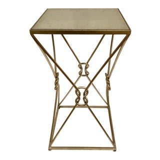 Currey & Co. Ariadne Mirror Top Silver Accent Table For Sale