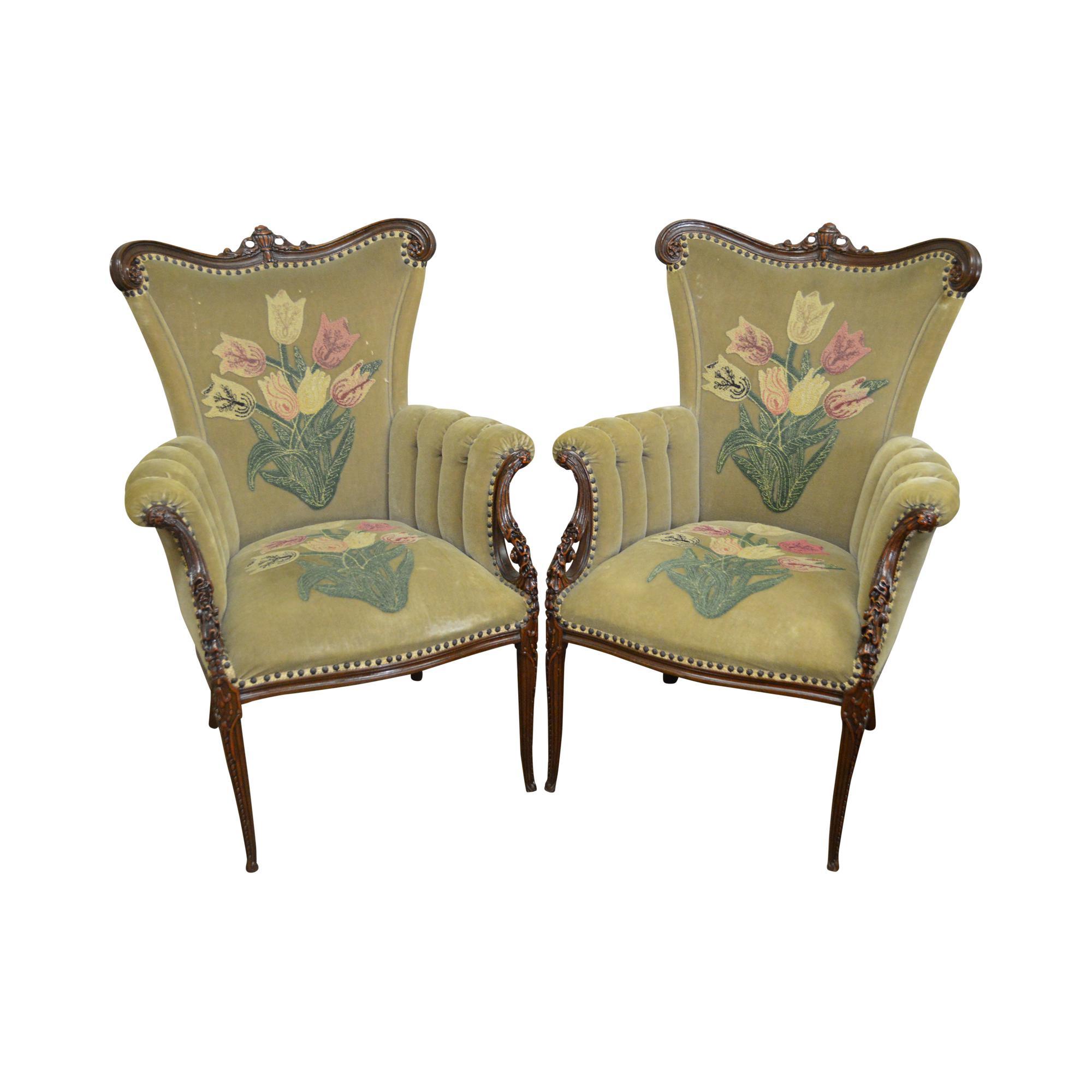 1940u0027s Custom Pair Of Hollywood Regency Fireside Chairs   Image 11 Of 11