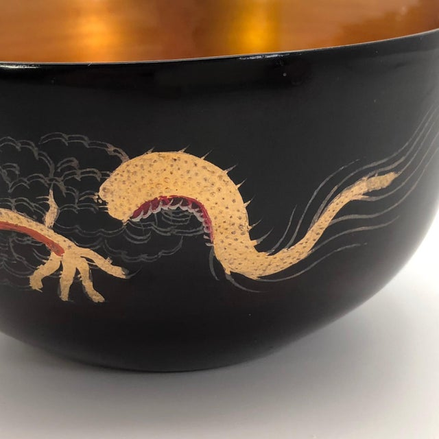 Gold Chinese Foochow Goldfish and Dragon Lacquer Bowl For Sale - Image 7 of 12