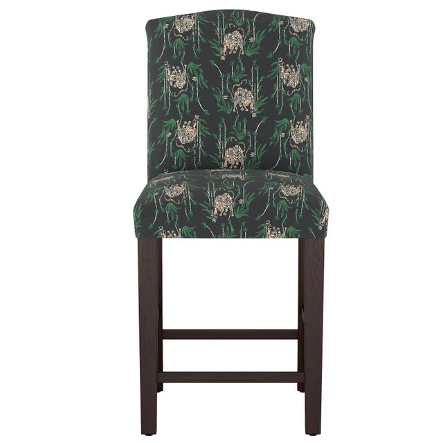 Wood Camel Back Counter Stool in Tiger Bamboo Ink Oga For Sale - Image 7 of 7