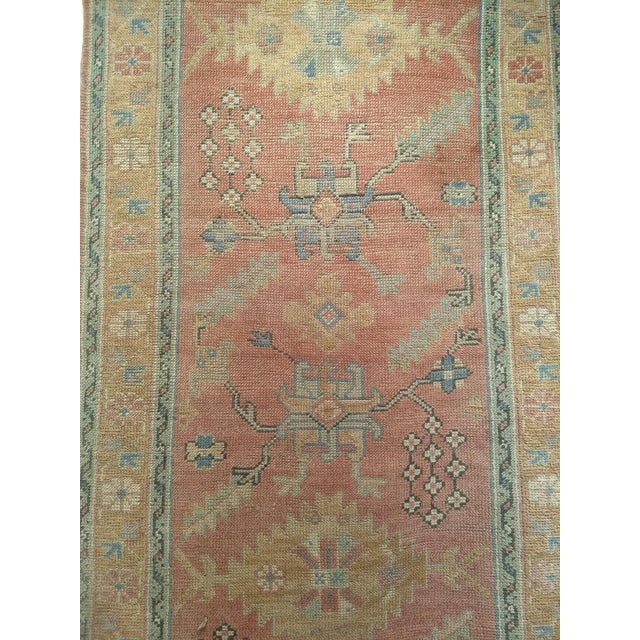 """Late 1800s Turkish Oushak Runner- 3' 5"""" X 14' 5"""" For Sale - Image 11 of 13"""
