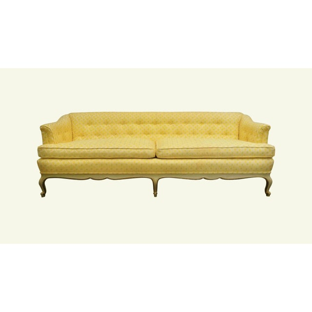 Louis XV Style Tufted Sofa in Yellow - Image 2 of 8