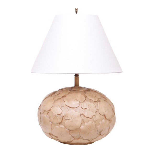 Neutral Hand Made Ceramic Lily Pad Lamp For Sale