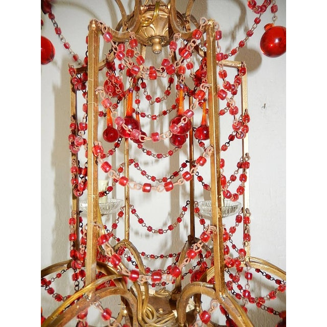 French Red Murano Ball and Chains Chandelier, circa 1940 For Sale - Image 10 of 11