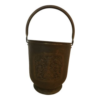 Vintage Brass Bucket with Handle and Lion Code of Arms For Sale