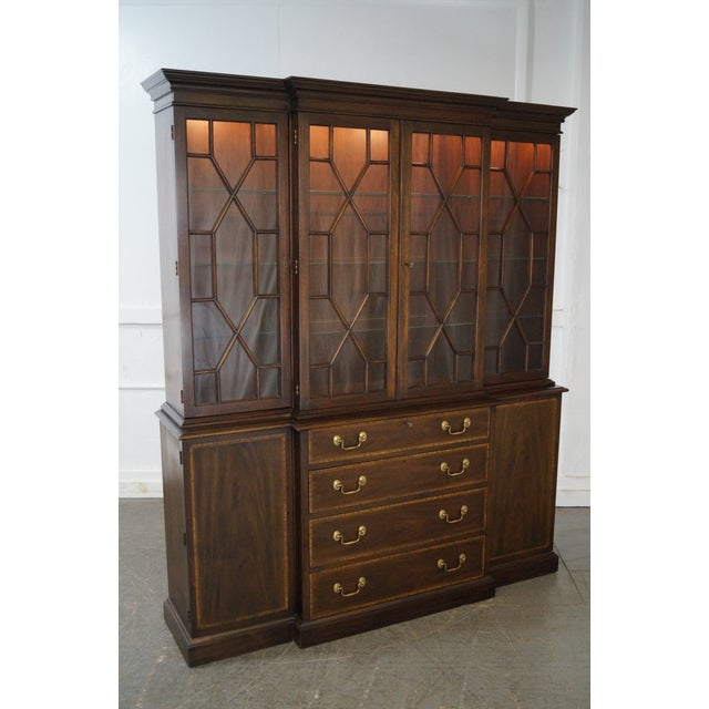 Store Item #: 14905-fwmr Henkel Harris Mahogany Chippendale Style London Breakfront AGE/COUNTRY OF ORIGIN: Approx 45...