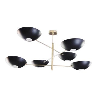 Large Counterbalance Ceiling Fixture, Black Enamel + Brass by Blueprint Lighting For Sale