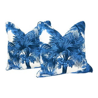 "Thibaut Palm Botanical 18""x18"" Pillows - a Pair For Sale"