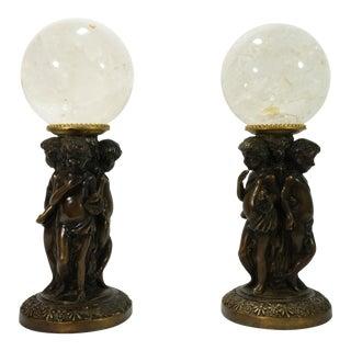 1980s Italian Cherubs Holding Rock Crystal Ball Figurines - a Pair For Sale