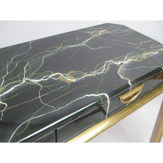 Metal Brass and Faux Marble Console Table by Widdicomb For Sale - Image 7 of 8