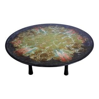 1940s Scandinavian Verre Églomisé Round Floral Painted Coffee Table For Sale