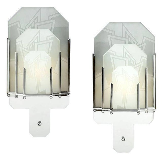 Pair of Frosted Glass Art Deco Sconces For Sale - Image 4 of 4