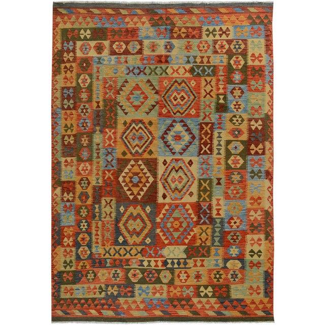 Arya Darwin Gray/Rust Wool Kilim Rug - 6'6 X 9'8 A9296 For Sale