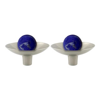 Addison Weeks Gibson Knob, Pewter & Lapis - a Pair For Sale
