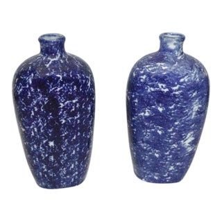 Pair of 19th Century Sponge Ware Vases/Bottles For Sale
