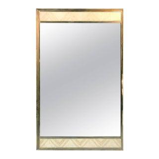 Gio Ponti Style Italian Modern Travertine & Brass Rectangular Mirror For Sale