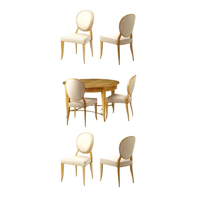 Andre Arbus Documented Rarest Sycamore Dinning Set With Six Chairs For Sale