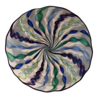 Robert Dane: Heathbrook Studio Cane Blown Art Glass Plate