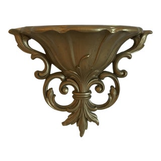 1961 Century Modern Homco Gold Urn Wall Planter For Sale