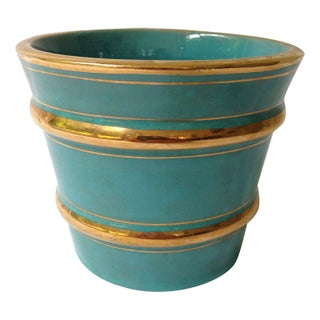 Italian Turquoise And Gilt Pot