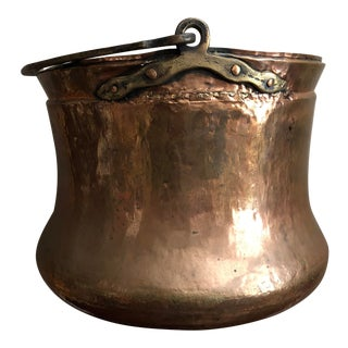 Antique 1800's Large Firewood Bucket W Flared Base Hammered Copper Brass Handle For Sale