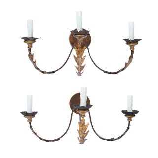 Pair of Large Gilt-Iron Sconces For Sale