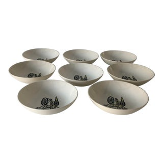 Midcentury Textile Machinery Design Dessert/Berry Bowls S/8 For Sale