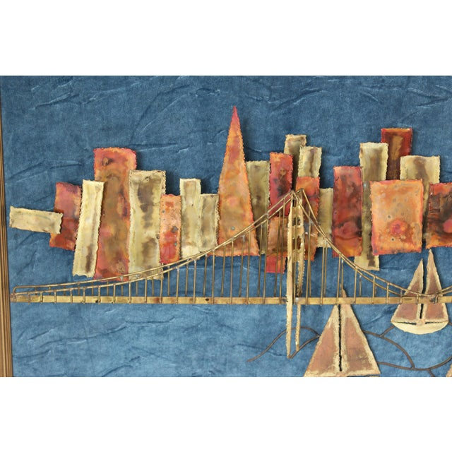 Mid-Century Modern Golden Gate Bridge Mixed Metal Wall Sculpture For Sale - Image 3 of 10