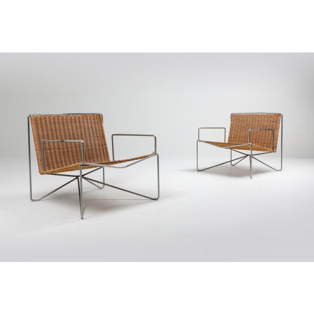 Contemporary Rattan & Steel Armchairs by Gelderland - 1964 For Sale - Image 3 of 13
