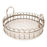 Image of Godinger Silver-Plated Round Serving Tray With Lucite Inset, 20th Century For Sale