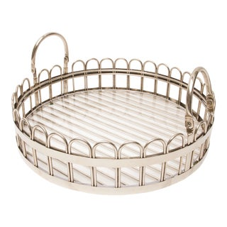 Godinger Silver-Plated Round Serving Tray With Lucite Inset, 20th Century For Sale