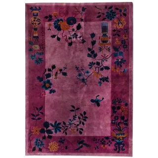 1930s Vintage Art Deco Chinese Wool Rug - 4′ × 5′11″ For Sale