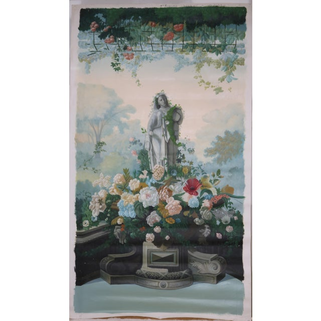 "Mid 20th Century Vintage ""Statue and Floral Trellis"" Oil on Canvas Painting For Sale - Image 5 of 5"
