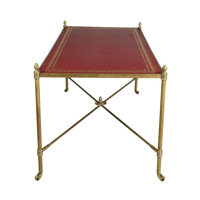 Red Directoire Style Brass and Leather Coffee Table For Sale - Image 8 of 10