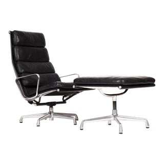 Vintage Mid-Century Herman Miller Aluminum Group High Back Lounge Chair + Ottoman For Sale